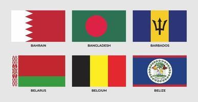 Flag of bahrain, bangladesh, barbados, belarus, belgium, belize. vector
