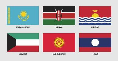 bandera de kazajstán, kenia, kiribati, kuwait, kyrgyzstan, laos vector