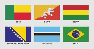 flag of benin, bhutan, bolivia, bosnia and herzegovina, botswana, brazil vector