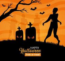Happy Halloween banner with zombies silhouettes in the cemetery vector