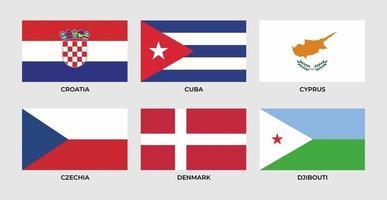 Flag of cuba, cyprus, czechia, denmark, djibouti, croatia. vector