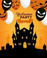 Happy Halloween banner with haunted house and scary balloons vector