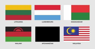 Flag of lithuania, luxembourge,madagascar, malawi, afghanistan, malaysia, vector