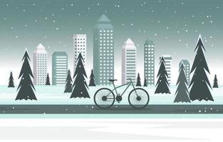 acogedora escena de invierno cubierto de nieve en la ciudad con edificios, árboles y bicicletas vector