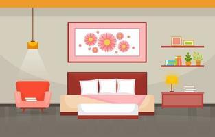 acogedor interior de dormitorio con cama doble y estantes vector