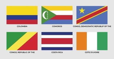 flag of colombia, comoros, congo, democratic republic of the congo, costa rica,cote d'lvoire vector