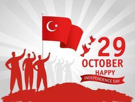 29 de octubre, día de la república turca con gente y bandera. vector