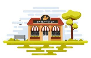 Fancy Bakery Shop with Trees and Bench vector