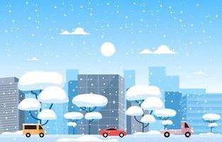 ciudad nevada y autos en invierno vector