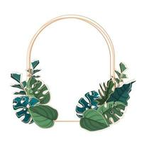 Plantilla de fondo circular con marco de borde de hojas tropicales verdes vector