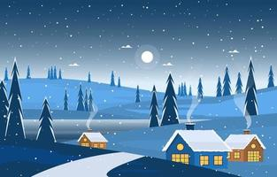 Cozy Winter Night Scene with Trees, Cottages, and Hills vector