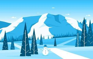 Snowy Winter Nature Landscape with Trees, Mountains, and Snowman vector
