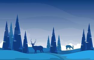 paisaje de invierno nevado con árboles, nubes y ciervos vector