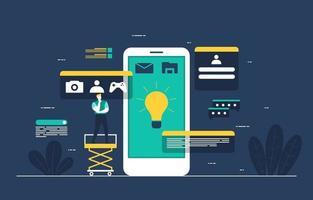 Programmers Developing Mobile App Flat Design Illustration vector