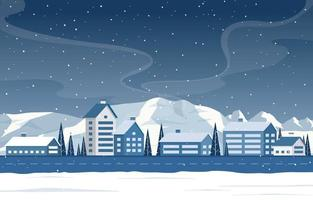 Snowy Winter Town Scene with Mountains, Homes and Trees vector