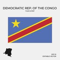 república democrática del congo mapa y bandera vector