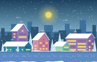 Snowy Winter Town Scene with Skyline, Homes and Trees vector