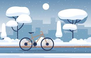 Cozy Snowy Winter Scene in City with Buildings, Trees, and Bicycle vector