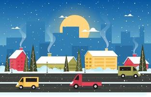 Snowy Winter Town Scene with Skyline, Homes and Traffic vector