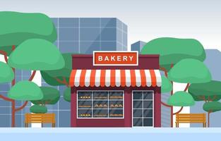 Fancy Bakery Shop in City Park vector