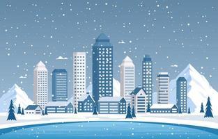 escena de la ciudad de invierno nevado con horizonte, casas y lago congelado vector