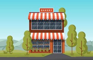 Fancy Two Storey Bakery Shop in Park vector