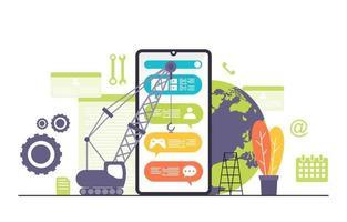 grúas que construyen la aplicación móvil en la ilustración plana del teléfono inteligente