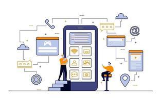 programadores que desarrollan ilustración de diseño plano de aplicaciones móviles