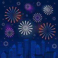 Happy New Year Scene with Fireworks over a Stylized City Skyline vector