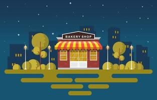 Fancy Bakery Shop in City Park at Night vector