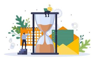 Businessmen Working on Time Management and Business Strategy Illustration vector