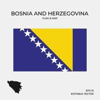 bosnia and herzegovina flag and map vector