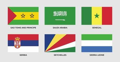 Set flag of sao tome and principe, saudi arabia, senegal, serbia, seychelles, sierra leonne vector