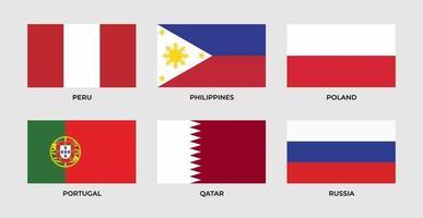 establecer bandera de perú, filipinas, polonia, portugal, qatar, rusia vector