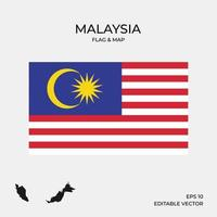 Malaysia map and flag vector