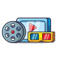 electronic tablet, roll film and 3d glasses for watching movie concept illustration collection vector