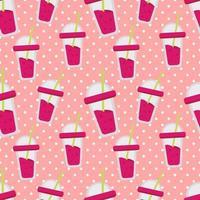 strawberry juice seamless pattern illustration vector