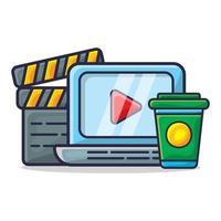 computadora portátil, tablero de chapaleta y bebida para ver la ilustración del concepto de película vector
