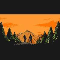 Hiking mountain landscape vector illustration
