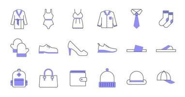 Colored Line Clothing Icons vector