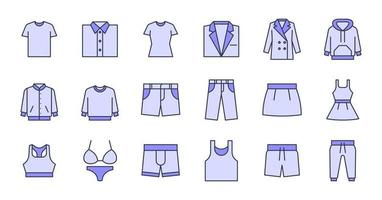 Filled Outline Clothing Icons vector