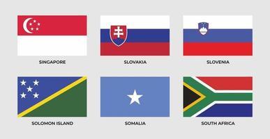 Set flag of Singapore, slovakia, slovenia, solomon island, somalia, south africa