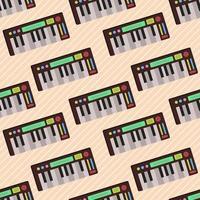 Ilustración de patrones sin fisuras de instrumento de música de teclado vector