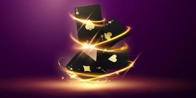 Playing card. Winning poker hand casino chips flying realistic tokens for gambling, cash for roulette or poker, vector