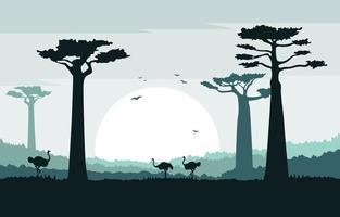 Ostriches in African Savanna with Baobab Trees Illustration