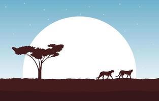 Cheetahs in African Savanna with Tree and Big Sun Illustration