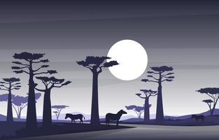 Zebras in African Savanna with Baobab Trees Illustration