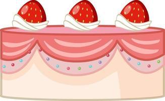 Pink strawberry cake on white background