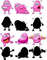 Set of pink monster with its silhouette on white background vector