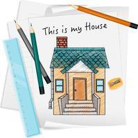 bosquejo, casita, en, papel, aislado vector